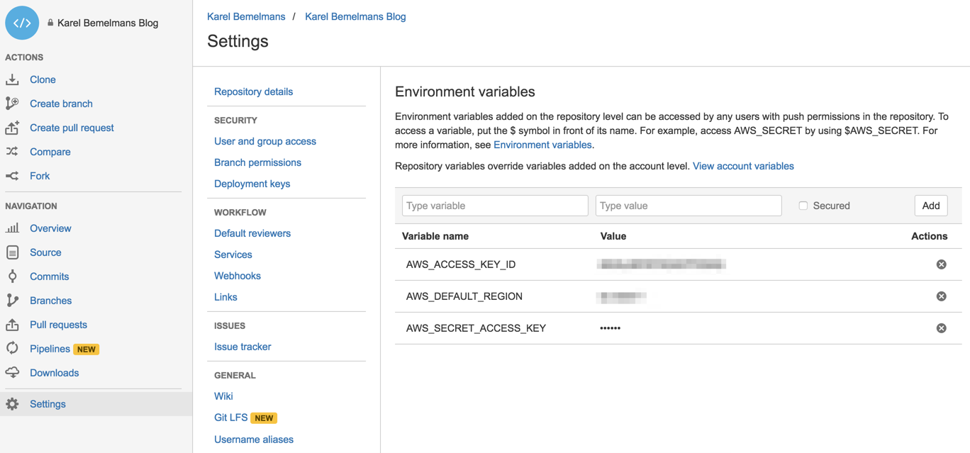 Bitbucket Pipelines environment variables settings page