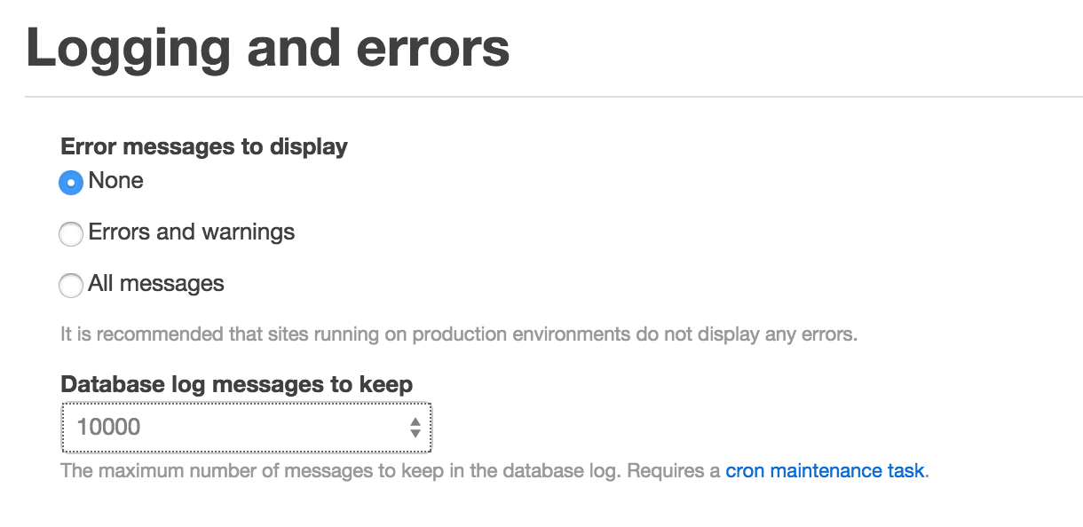 Drupal logging settings page
